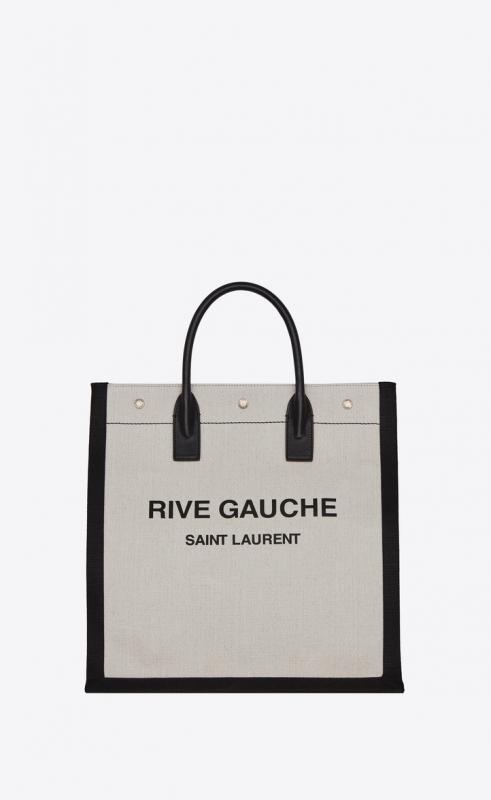 RIVE GAUCHE N/S tote bag in printed linen and leather (6325399J52E9273)