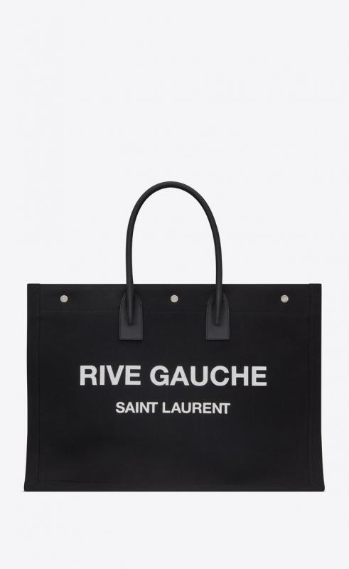 rive gauche tote bag in linen and leather (50941596N9D1070)