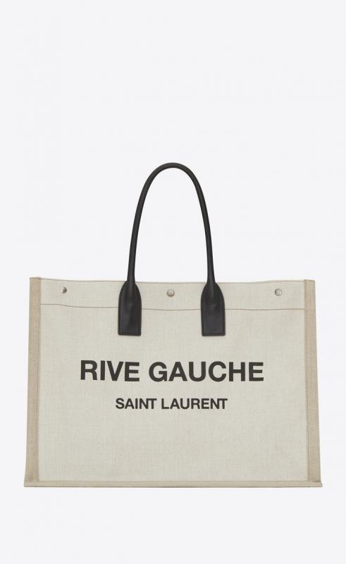 rive gauche tote bag in linen and leather (5094159J52D9280)
