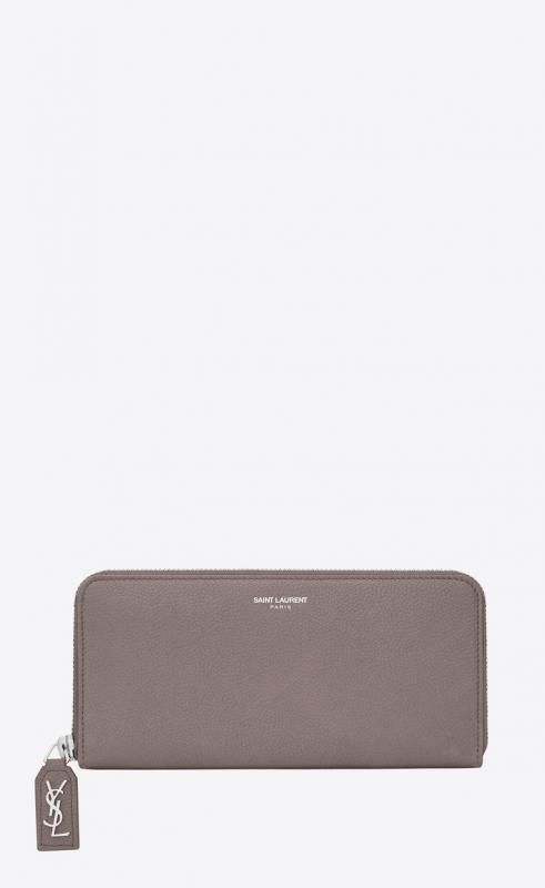 rive gauche zip around wallet in grained leather (414680B680N1202)