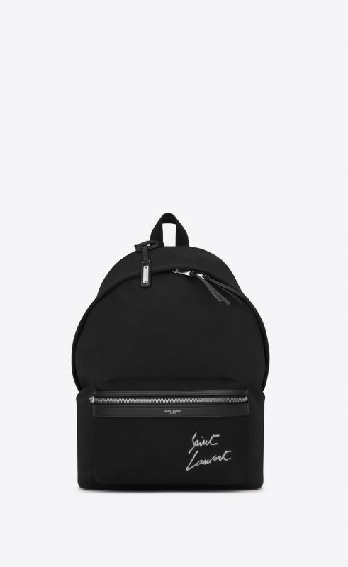 saint laurent embroidered city backpack in canvas (534968GKQN61070)