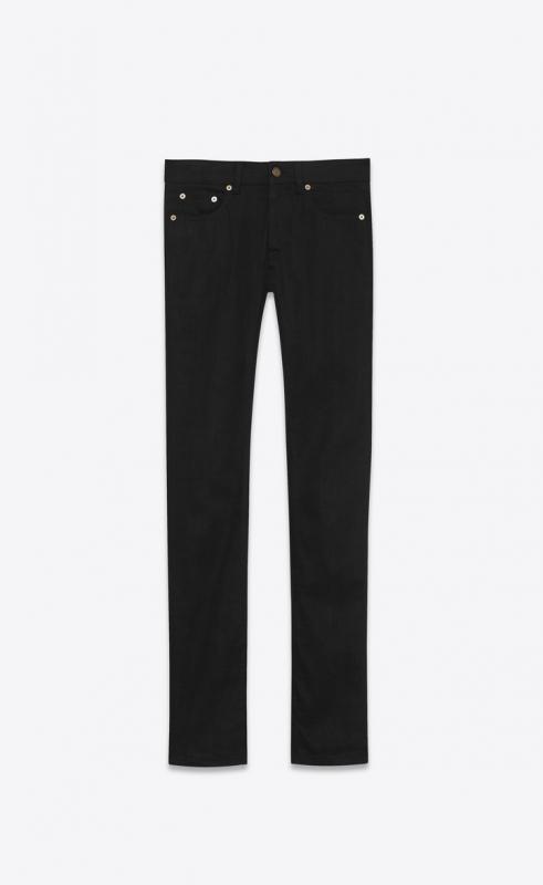 skinny jeans in worn black stretch denim (472822Y869L1220)