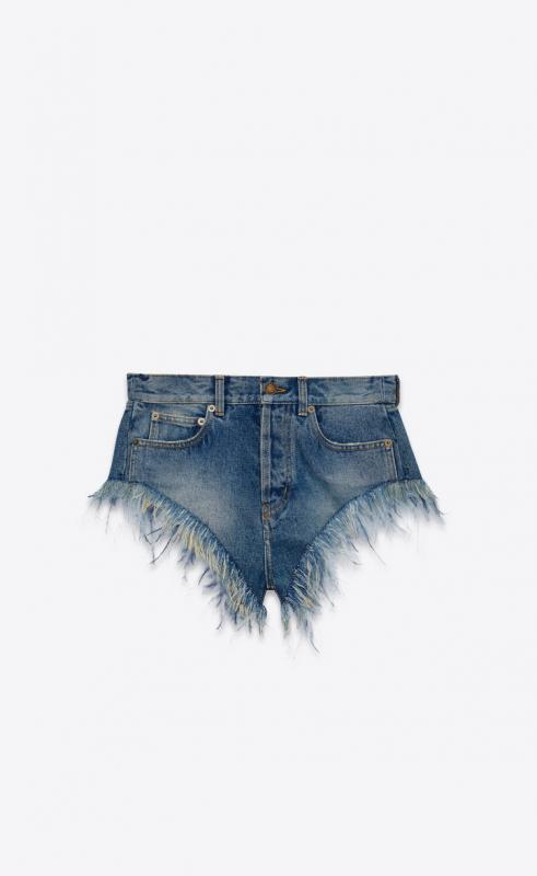 Slim-fit ostrich feathered shorts in Arizona light blue denim (589832YN8704137)