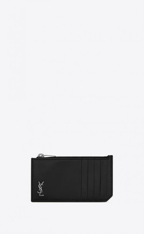 TINY MONOGRAM FRAGMENTS zip card case in matte leather (6298991JB0E1000)