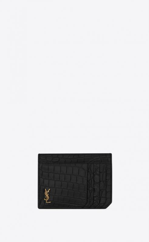 TINY MONOGRAM ID card case in crocodile-embossed matte leather (629908DZE0W1000)