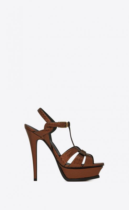 TRIBUTE platform sandals in metallic ayers (538818EXV002441)
