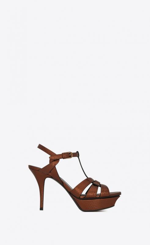 TRIBUTE platform sandals in metallic ayers (543104EXV002441)